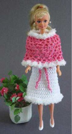 #374 Fashion Doll Strapless Dress and Poncho Crochet Pattern. http://www.maggiescrochet.com/fashion-doll-strapless-dress-and-poncho-crochet-pattern-p-285.html#.URlkOGfxuM0  Dress up Barbie with this darling outfit. We used Paton's Grace for our model, and Bernat Lulu for the trim. This pattern is easy to make with any sport weight cotton yarn.