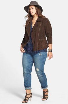 Nordstrom Jackets - Sejour Moto Jacket, Crêpe Top & City Chic Boyfriend Jeans (Plus Size) available at Plus Size Fashion For Women, Plus Size Women, Plus Fashion, Womens Fashion, Petite Fashion, Fall Fashion, Style Fashion, Plus Zise, Mode Plus