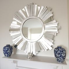 Striking Silver Contemporary Mirror