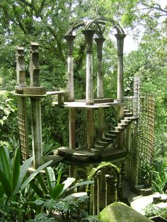 Las Pozas, Xilitla, San Luis Potosí is a surrealistic group of structures created by Edward James in a subtropical rainforest in the mountains of Mexico. It includes natural waterfalls and pools interlaced with towering surrealist sculptures in concrete Natural Waterfalls, Garden Site, Garden Of Eden, Abandoned Places, Oh The Places You'll Go, Surrealism, Garden Design, Beautiful Places, Amazing