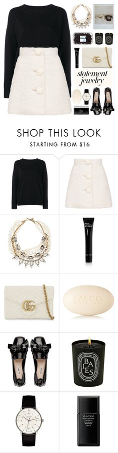 """Statement Jewelry ★ Top Set"" by mylkbar ❤ liked on Polyvore featuring Frame, Lulu Frost, Bobbi Brown Cosmetics, Gucci, LAFCO, Diptyque, Junghans, Shiseido, contestentry and polyPresents"