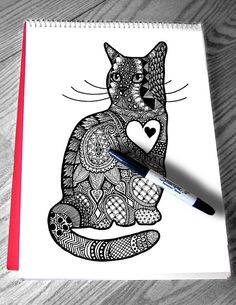 Beautiful cat coloring page for adult. Heart, cat, mandala, zentangle art by Color my Doodles