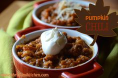 Pumpkin Chili with Lentils and Chickpeas from www.shrinkingkitchen.com A delicious #fall #pumpkin #recipe