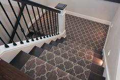 Brown and tan patterned carpet runner. Brown Carpet, Patterned Carpet, Carpet Runner, Beautiful Homes, Tile Floor, Family Room, This Is Us, House, Inspiration