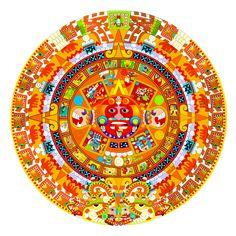 mandalas made from candy Culture Art, Aztec Culture, Mexico Tattoo, Aztec Symbols, Aztec Calendar, Aztec Art, Mesoamerican, Chicano Art, Mandala Drawing