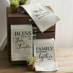 Linen Kitchen Towels, Set of 3