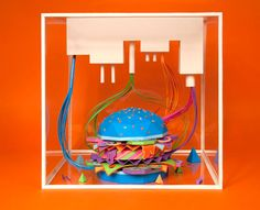 French-based design collective Zim and Zou drew on an almost obsessive attention to detail and a buketload of patience to come up with this paper art burger for Icon Magazine. And the results are striking; they've managed to combine all the elements in a way that is recognisably a burger, but with a glorious sense of festivity.