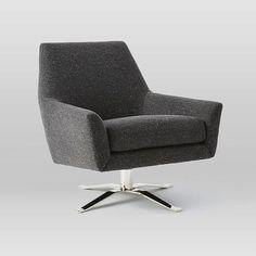"Lucas Swivel Base Chair | West Elm polished nickel-finish swivel base tweed upholstery in asphalt 30.5""w x 32""d x 31""h."