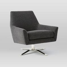 "Lucas Swivel Base Chair | West Elm polished nickel-finish swivel base tweed upholstery in asphalt 30.5""w x 32""d x 31""h."