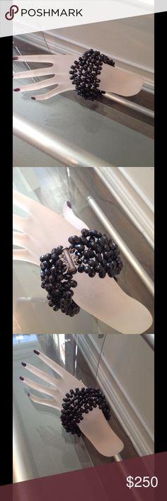 Large onyx bracelet Five strand large onyx bracelet with  a silver closure. This is a fabulous piece! Jewelry Bracelets