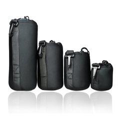 FotoTech Extra Thick 4 pcs DSLR camera Drawstring Soft Neoprene Lens Pouch Bag Covers size S M L XL for FotoTech Velvet Bag