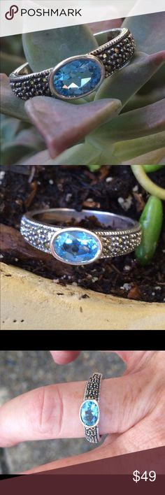 Sterling marcasite and blue topaz ring Sterling ring with bezel set blue topaz stone and pave marcasite!  Sz 8 Jewelry Rings
