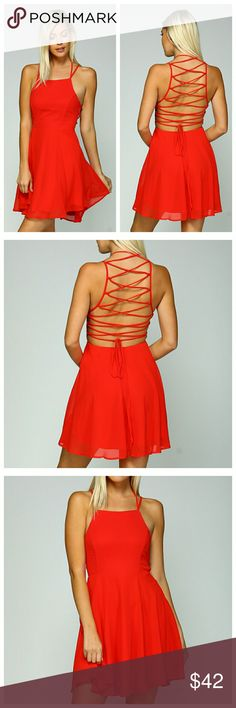 Red Sleeveless Dress With Criss-Cross Back Red dress with a top layer of sheer chiffon over a solid bottom layer. Amazing criss-cross tie in back. Layers are lightweight, you will need something underneath. Dresses