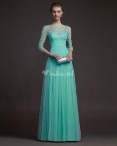 Robes de bal 2014 à manches longues robe de soirée robe de soirée formelle festonné cou, vert menthe pure
