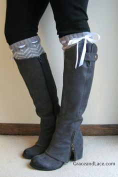 Grey boots with Chevron Leg Warmers