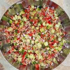 I like to divide this into 1/2 cup - 1 cup portions. Excellent for Food Prepping, or Lunches on-the-go, as it's delicious served cold, or at room temperature. Ingredients: 3 cups cooked quinoa, 4-5 small tomatoes diced, 1 small red onion diced...