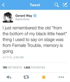 I do remember he said that when MCR accepted a Kerrang award in 2005 for Helena and they said a speech (it's on YouTube) it was really sweet ❤️❤️