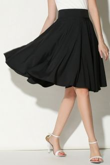 Solid Color Ruffled A-Line Midi Skirt