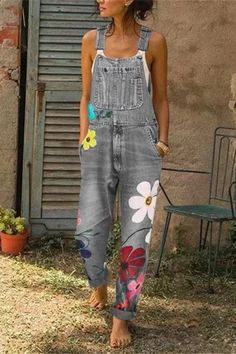 Casual Denim Jumpsuit Big Pocket Graffiti Multi-Color Nine-Point Bib Casual Strap Sleeveless Jumpsuits Denim Jumpsuit, Printed Jumpsuit, Casual Jumpsuit, Floral Jumpsuit, Harem Jeans, Denim Pants, Denim Overalls, Dungarees, Denim Blouse