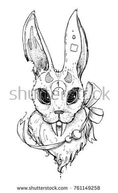 Creative strange rabbit with long fangs. It can be used for printing on t-shirts, postcards, or used as ideas for tattoos. Love Tattoos, Body Art Tattoos, Tatoos, Dark Drawings, Cool Sketches, Art Model, Fashion Art, Cool Art, Street Art