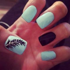 Baby blue nails with black feather and glitter! Sooo cute!