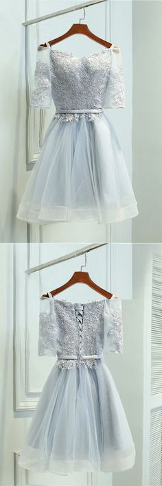 grey homecoming dresses, chic short party dresses, cheap a-line fashion gowns,