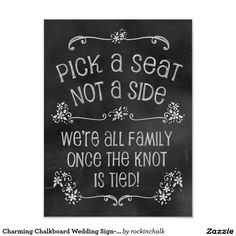 Charming Chalkboard Wedding Sign-Pick A Seat