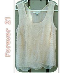 FOREVER 21 PALE BEADED TOP Beautiful FOREVER 21 Sleeveless Top Size S Pale Pink, Lined Shell, SCALLOPED Bottom Edge. Jeweled Beaded thru out entire Front & Back. Perfect with pants or SKIRT for the HOLIDAYS! Forever 21 Tops