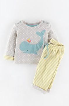 Mini Boden 'Logo' Top & Pants (Baby Girls) available at #Nordstrom