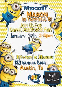 Nice Minion Birthday Party Invitations Free