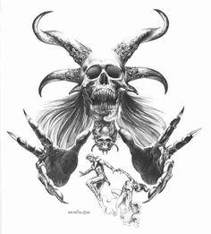 demon tattoo designs | Boris Vallejo Skull And Horns Demon Tattoo Designs Tattoos