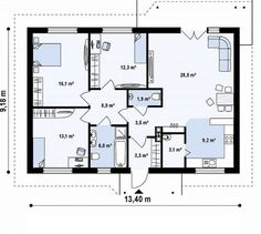 case pe un singur nivel sub 100 de mp Single floor houses under 100 square meters 3 Square House Plans, Living Room Partition, Industrial Kitchen Design, House Plans 3 Bedroom, Facade House, Luxury Apartments, Building Plans, House In The Woods, Traditional House