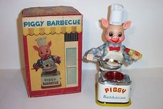 MINT 1950s BATTERY OPERATED PIGGY COOK BARBECUE TIN LITHO TOY BBQ JAPAN