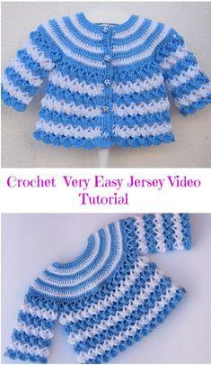 Crochet Very Easy Baby Jersey Video Tutorial - Knitting Bordado Crochet Baby Sweater Pattern, Crochet Baby Sweaters, Gilet Crochet, Baby Sweater Patterns, Crochet Baby Cardigan, Baby Girl Crochet, Newborn Crochet, Baby Knitting Patterns, Baby Patterns