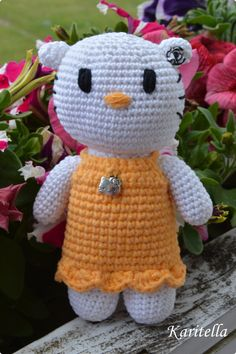 Crocheted Kitty with yellow dress by Karitella on Etsy