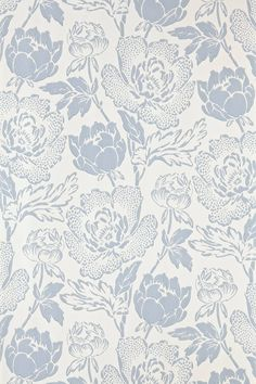 Peony by Farrow & Ball - Sky Blue / Off White - Wallpaper : Wallpaper Direct Unique Wallpaper, Wallpaper Direct, White Wallpaper, Wallpaper Samples, Vintage Wallpaper Patterns, Farrow Ball, Farrow And Ball Paint, Whatsapp Wallpaper, Romanticism