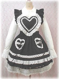 """manda-the-stars-shine-bright: """"Baby's lovely Heart Apron! A personal favorite of mine C: More info on this particular release here! Japan Fashion, Kawaii Fashion, Lolita Fashion, Cute Fashion, Cosplay Outfits, Swag Outfits, Cool Outfits, Fashion Outfits, Estilo Lolita"""