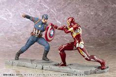 Captain America Civil War: Captain America & Iron Man combined ARTFX+ statues.
