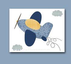 Yellow Navy Blue Gray Motorcycle Train Plane Canvas Wall Art