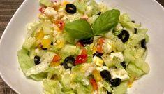 Fit sałatka z kaszą kuskus i jajkiem Chimichanga, Guacamole, Potato Salad, Grains, Salads, Rice, Lunch, Healthy Recipes, Chicken