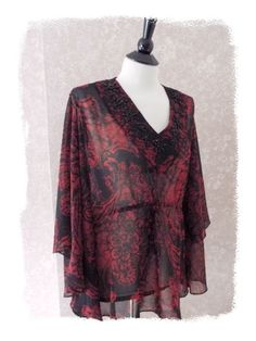 NEW Coldwater Creek PL Beaded Batwing Tunic Top Red Black Petite L 14 16 NWT #ColdwaterCreek #TunicTop #Casual
