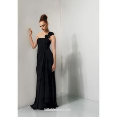 2013 Absorbing aBest Selling Modern Black One Shoulder With Flowers Floor Length Customer-made In New Zealand Bridesmaid Dress Prices - 1stbridesmaid.com