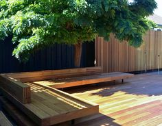 A low relaxed built in timber daybed. Silver top ash on the seat and deck, Western red cedar battens on the wall. The lovely existing Robinia provides shade and greenery. More planting around the perimeter and some custom made cushions to finish this garden off.