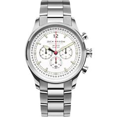 Jack Mason Nautical White Chronograph Stainless Steel Watch | Steel