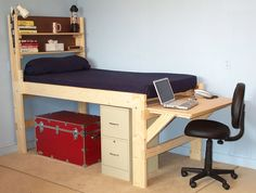 Shown with the short desk at the end of the bed.