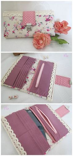 Rozy wallet sewing pattern.  Options to make it with metal hardware or there is a free pattern hack to make it without.  Pattern has video tutorial too.  Wallet sewing pattern. #jewelrymakinghacks