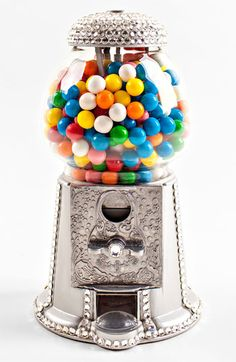 Our Glitzy Bella Swarovski covered silver gumball machine is crystallized with over 400 hand placed Swarovski crystals in the USA. Countertop size, it's the perfect addition to your gameroom, a girls bedroom or your office. Silver and red. Sugar Rush, Bubble Gum Machine, Glitter Make Up, Candy Dispenser, Candy Shop, All That Glitters, Swarovski Crystals, Bubbles, Girly