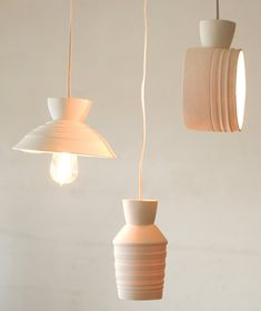 Pigeon Toe Ceramics : Striae: Unglazed porcelain light fixtures