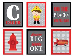 Firefighter, Princess, Jungle Nursery Art or Children Art set of 6 Bedroom Art - ANY theme or color scheme. Edmonton Alberta Canada