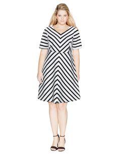 Zizzi Gestreiftes Kleid aus Baumwollmix in Weiß / Schwarz